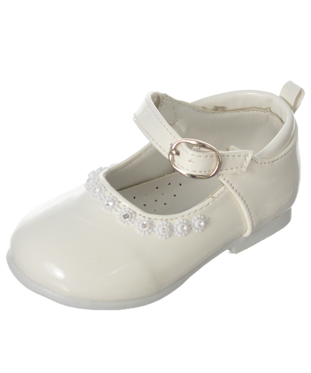 Tendertoes Baby Girls' Bejeweled Mary Jane Shoes - white, 4 infant