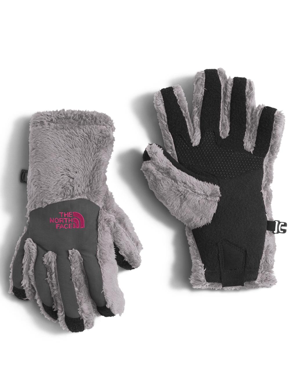 The North Face Girls' Denali Thermal Etip Glove (Sizes S - L) - metallic silver, m