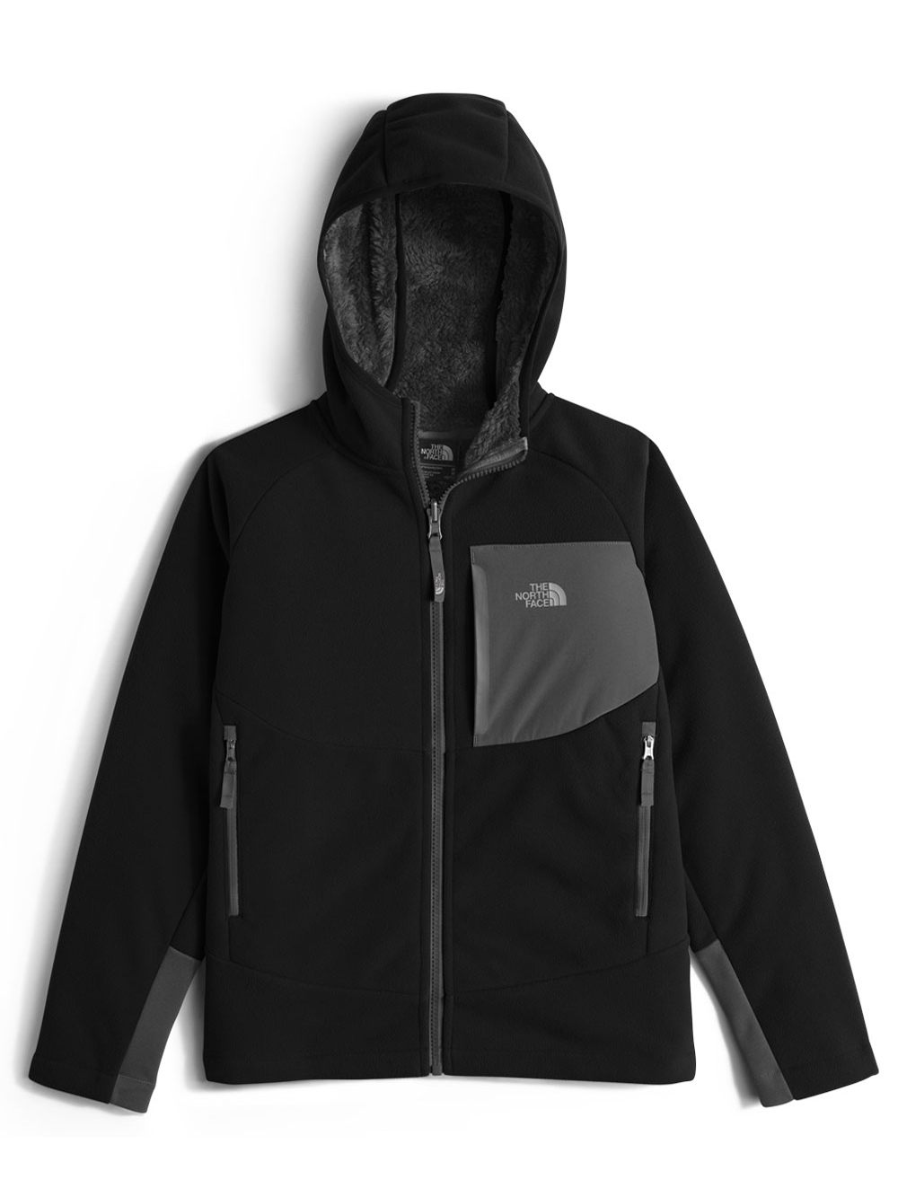 78a2a1fa5 Boys' Chimborazo Hoodie by The North Face in black, bright cobalt blue and  graphite gray/canary yellow