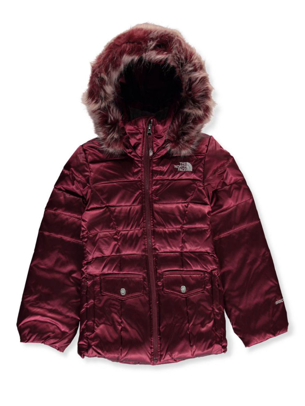 a7b06b29e Big Girls' Gotham 2.0 Down Jacket by The North Face in rabbit gray, tnf  black and zinfandel red from Cookie's Kids