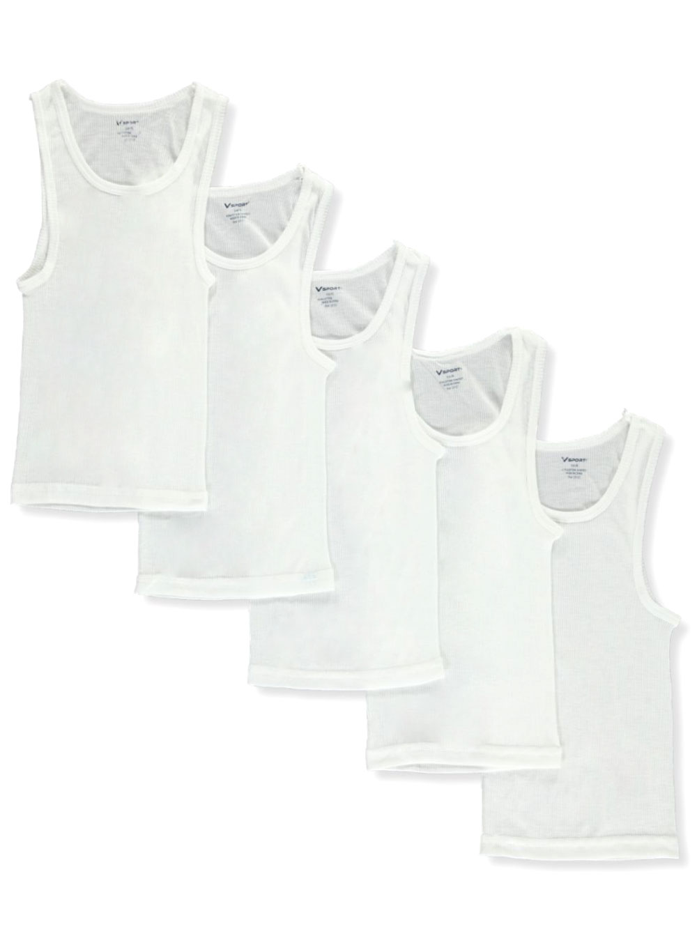 Boys' 5-Pack Ribbed A-Line Tank Tops