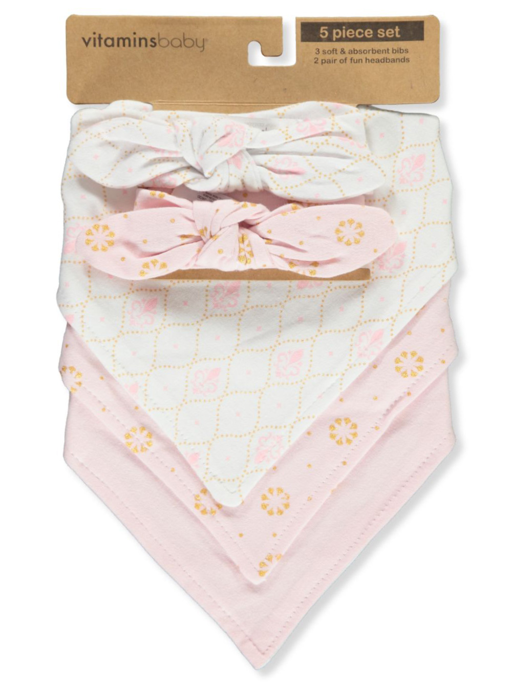 Vitamins 5-Piece Bibs and Headband Set