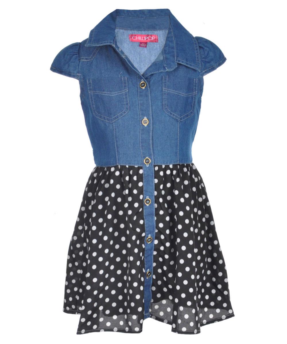Image of Chillipop Little Girls Dots Down Dress Sizes 4  6X  denim black 4