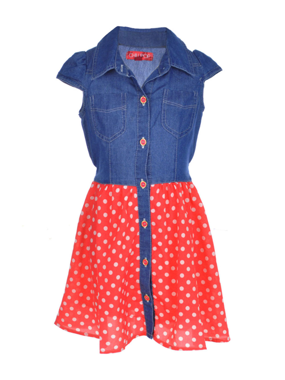 Image of Chillipop Little Girls Dots Down Dress Sizes 4  6X  denim red 4