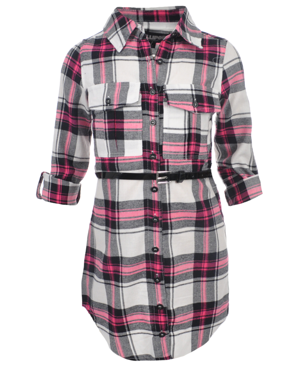 Image of Chillipop Big Girls Plaid ButtonDown Belted Dress Sizes 7  16  pink 10  12