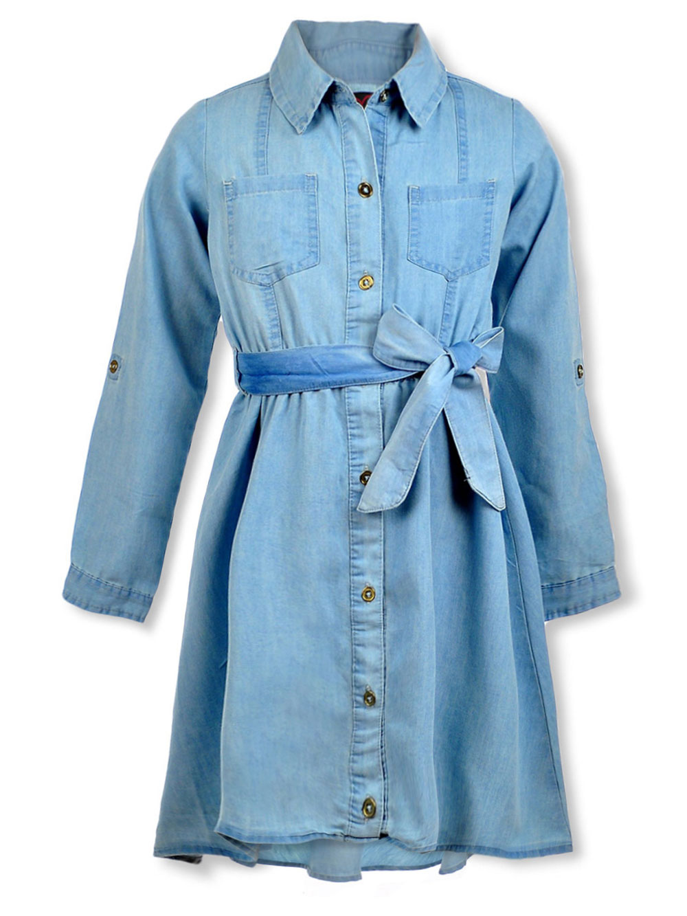 Girls Medium Wash Casual Dresses