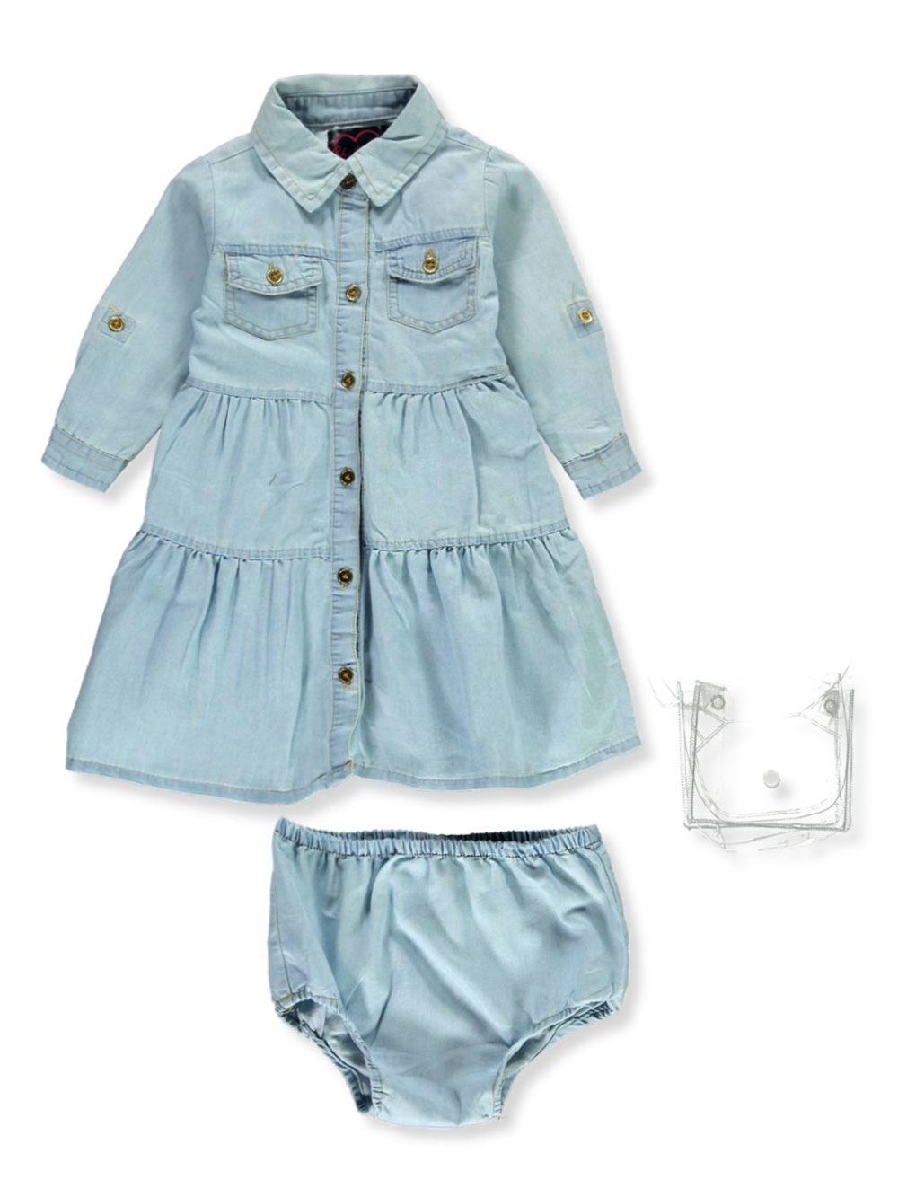Belted Denim Dress with Diaper Cover