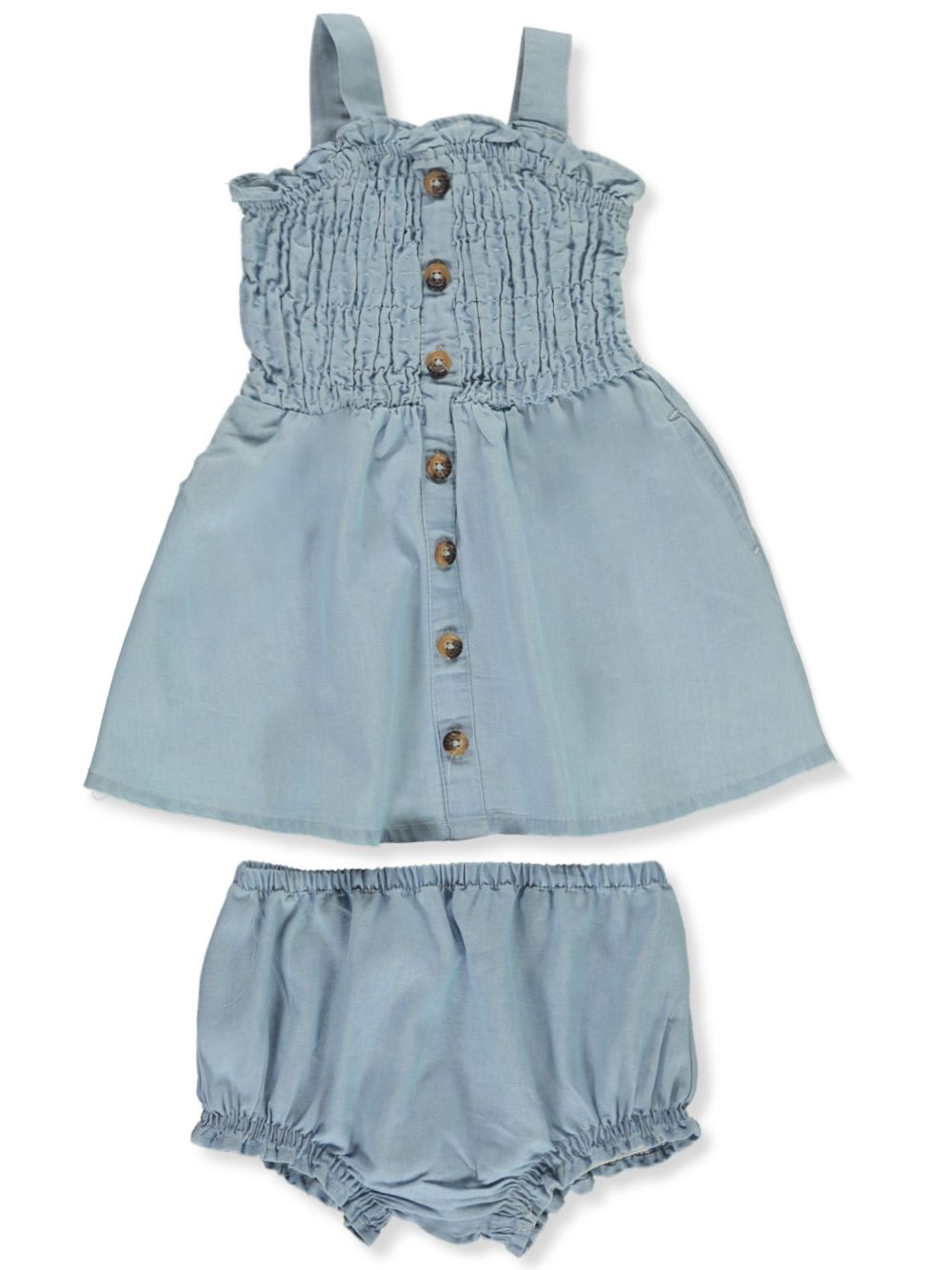 Smocked Denim Dress With Diaper Cover