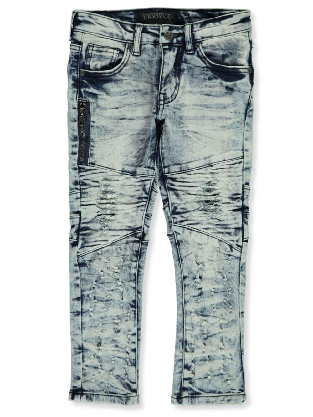 Encrypted Boys Moto Distressed Paint Slim Jeans