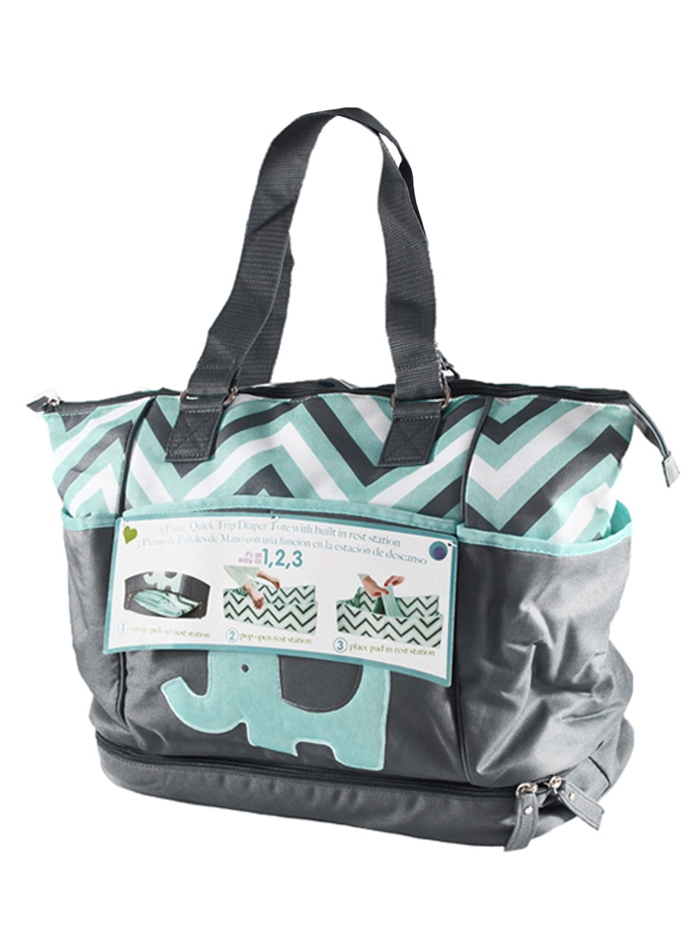 """Tender Kisses """"Zigzag Elephant"""" Diaper Tote with Rest Statio"""