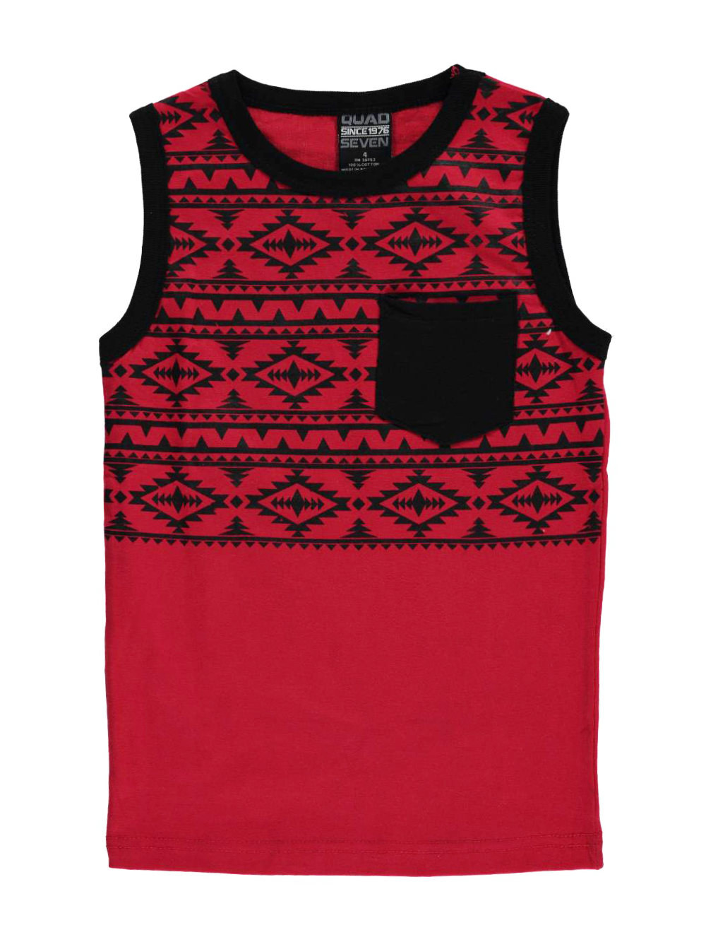 Image of Quad Seven Little Boys Toddler Tribal Upper Sleeveless TShirt Sizes 2T  4T  red 4t