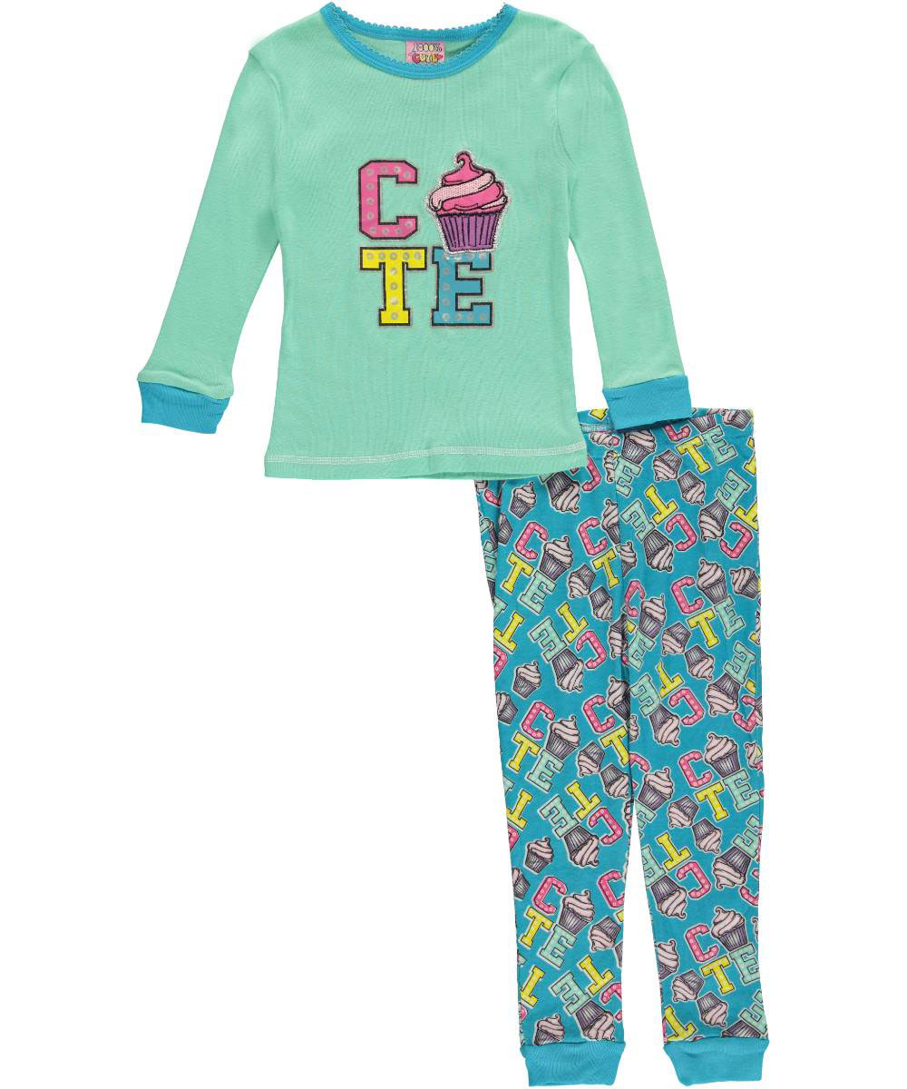 Image of 1000 Cute Little Girls Toddler Cute Cupcake 2Piece Pajamas Sizes 2T  4T  mint multi 2t