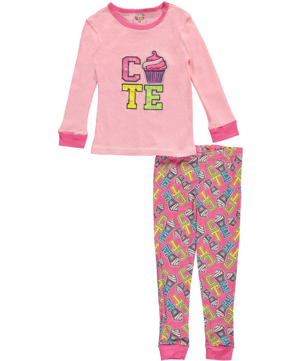 Image of 1000 Cute Little Girls Toddler Cute Cupcake 2Piece Pajamas Sizes 2T  4T