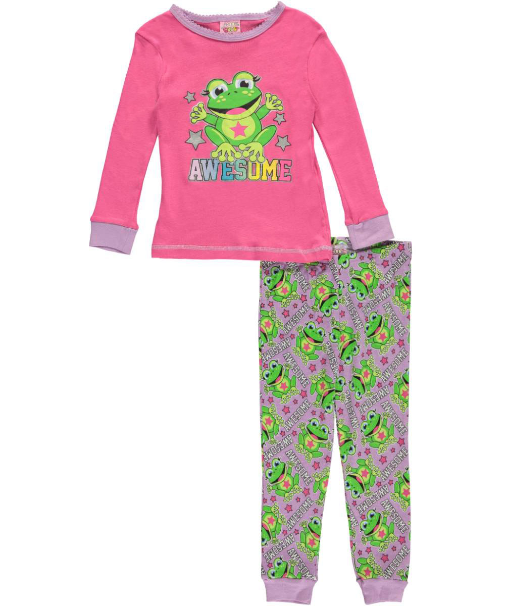 Image of 1000 Cute Little Girls Toddler Awesome Frog 2Piece Pajamas Sizes 2T  4T  fuchsiamulti 2t