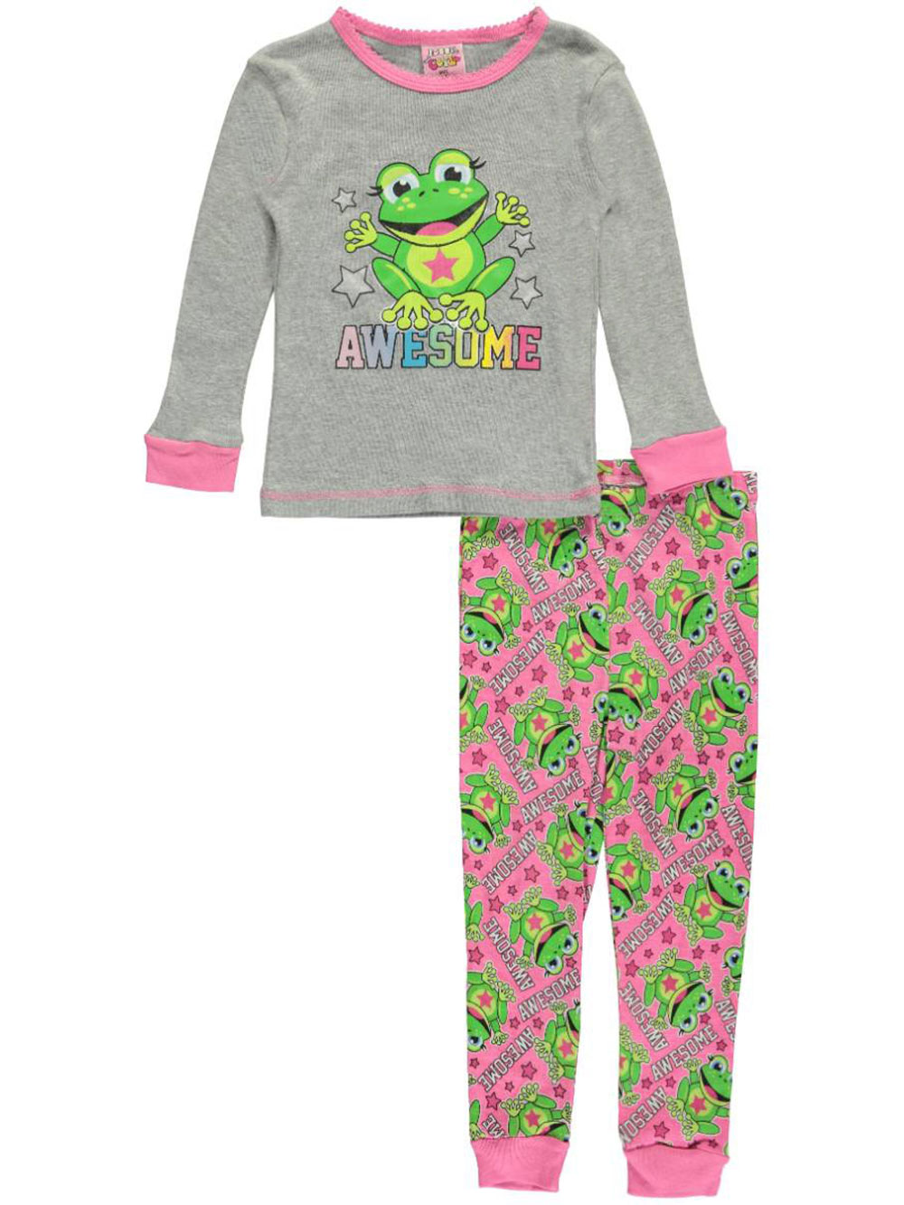 Image of 1000 Cute Little Girls Toddler Awesome Frog 2Piece Pajamas Sizes 2T  4T