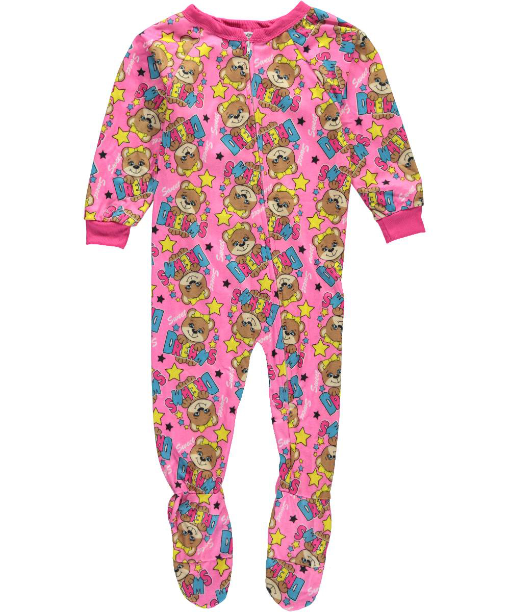 Image of 1000 Cute Little Girls Sweet Teddy Footed Pajamas Sizes 4  6X