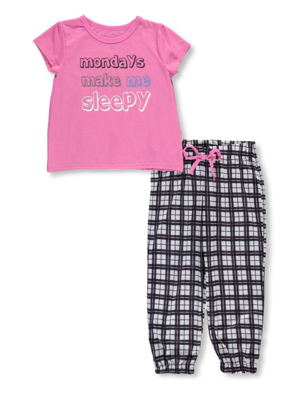 Image of Delias Little Girls Sleepy Mondays 2Piece Pajamas Sizes 4  6X  pinkmulti 4