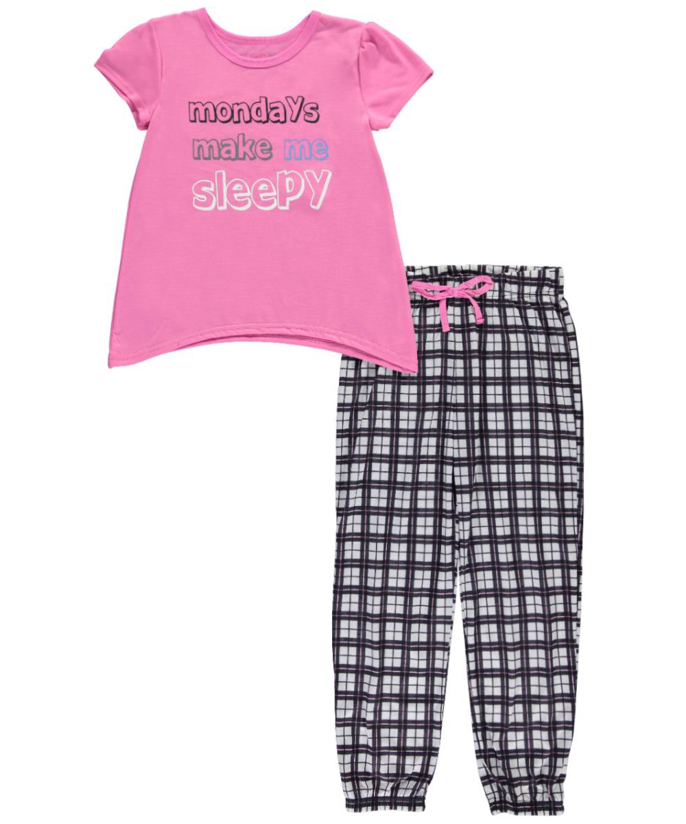 Image of Delias Big Girls Sleepy Mondays 2Piece Pajamas Sizes 7  16  pinkmulti 7  8