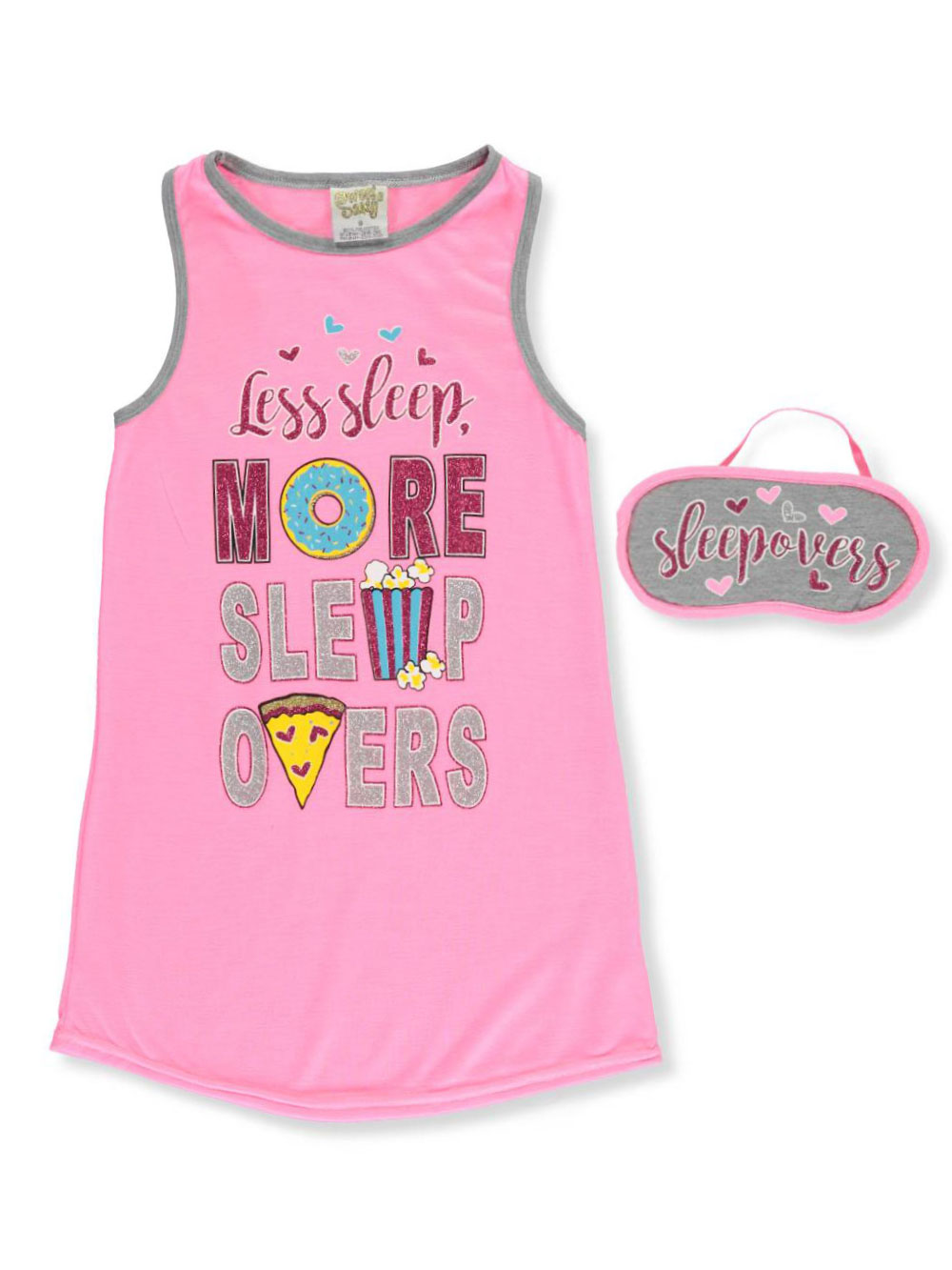 Sweet N Sassy Girls Be Awesome Gray Short Sleeved Hooded Nightgown