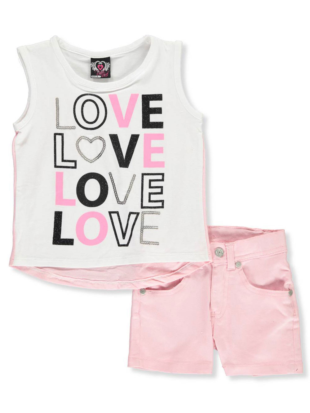 49cab9ee0 Girls' 2-Piece Shorts Set Outfit by Real Love in white/black and ...