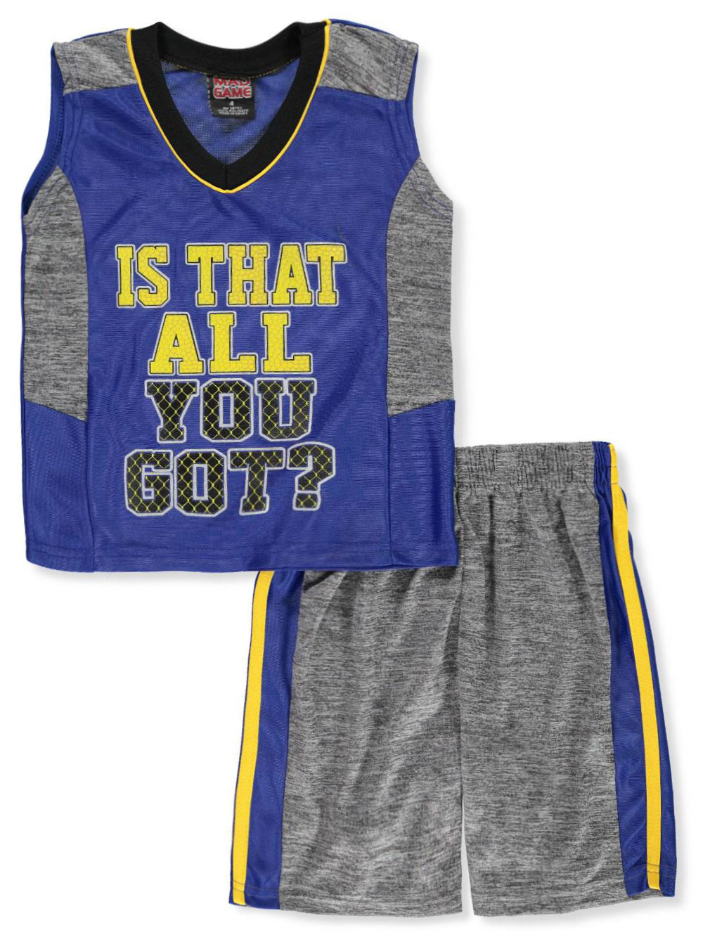 cadb6265 Boys' 2-Piece Shorts Set Outfit by Mad Game in charcoal/blue, charcoal/red  and navy/gray