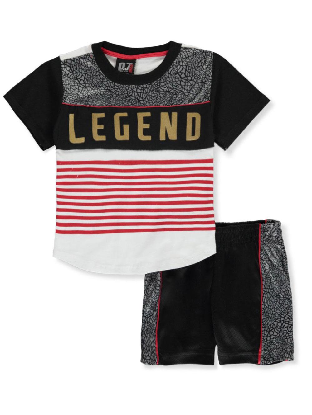 and Graphic T-Shirt Quad Seven Boys 3-Piece Pajama Set Long Pants Shorts