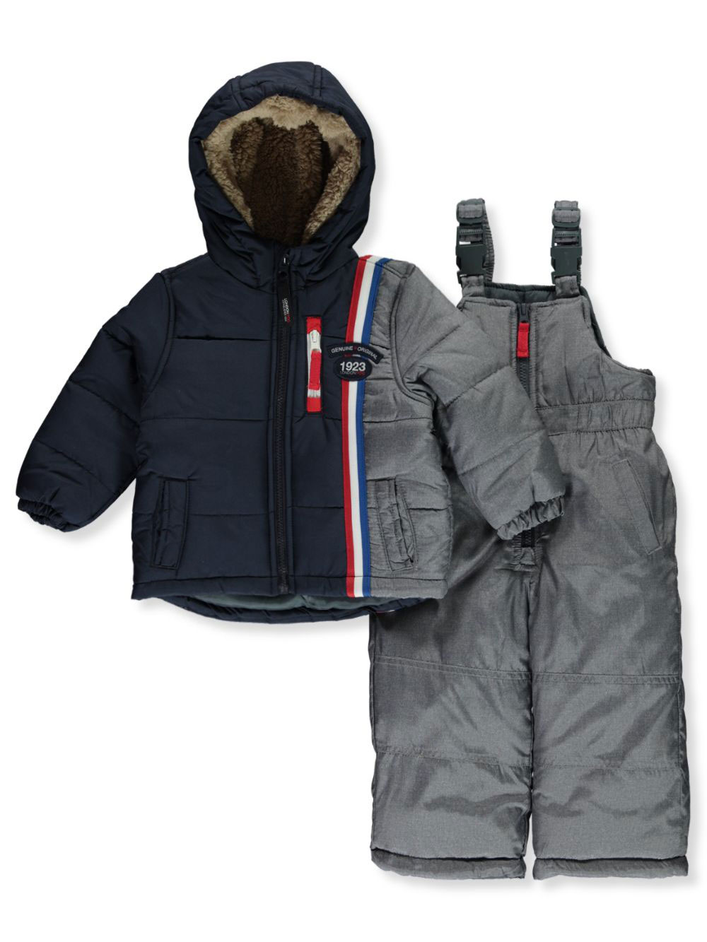 London Fog Baby Boys Jacket with Striped Sleeves