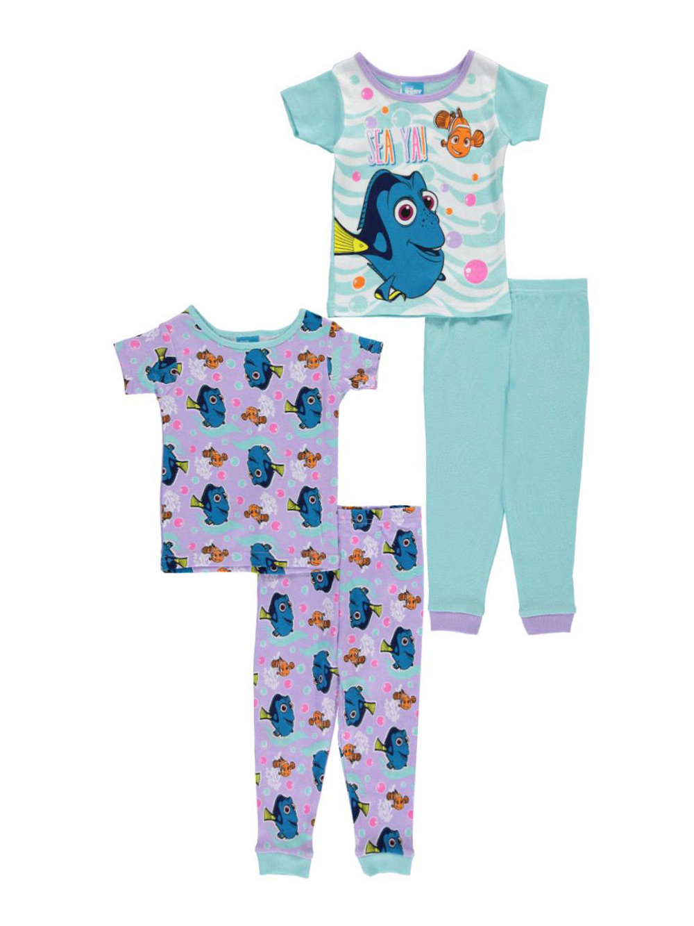Image of Finding Dory Baby Girls Sea Ya 4Piece Pajama Set