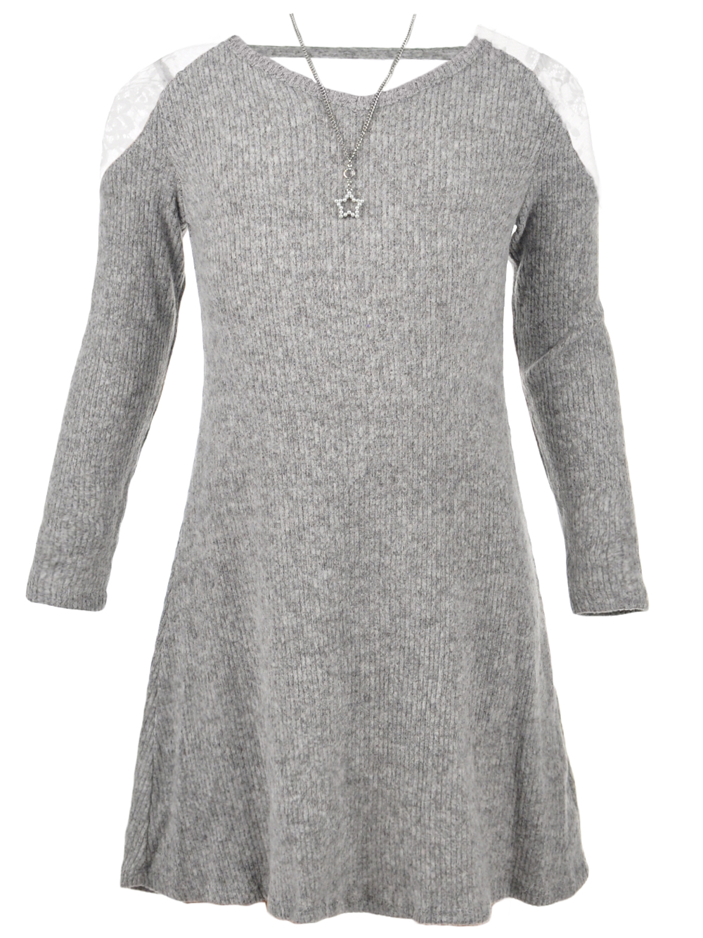 bb4c483684a65 Girls' Dress with Necklace by Amy Byer in Heather gray from Cookie's ...