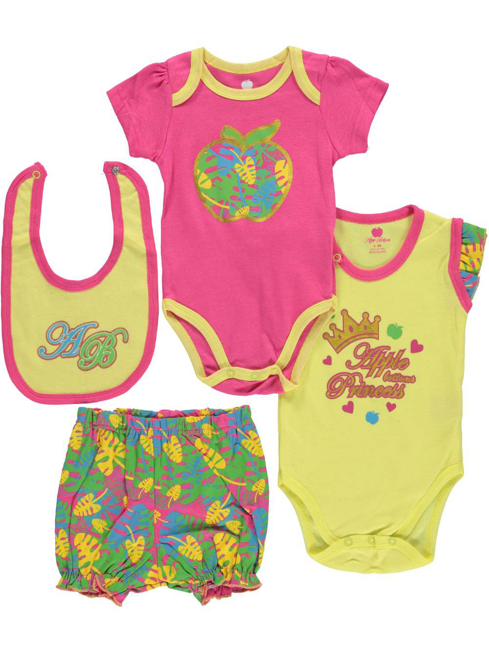 Image of Apple Bottoms Baby Girls Paintbrush Plaid 4Piece Layette Set