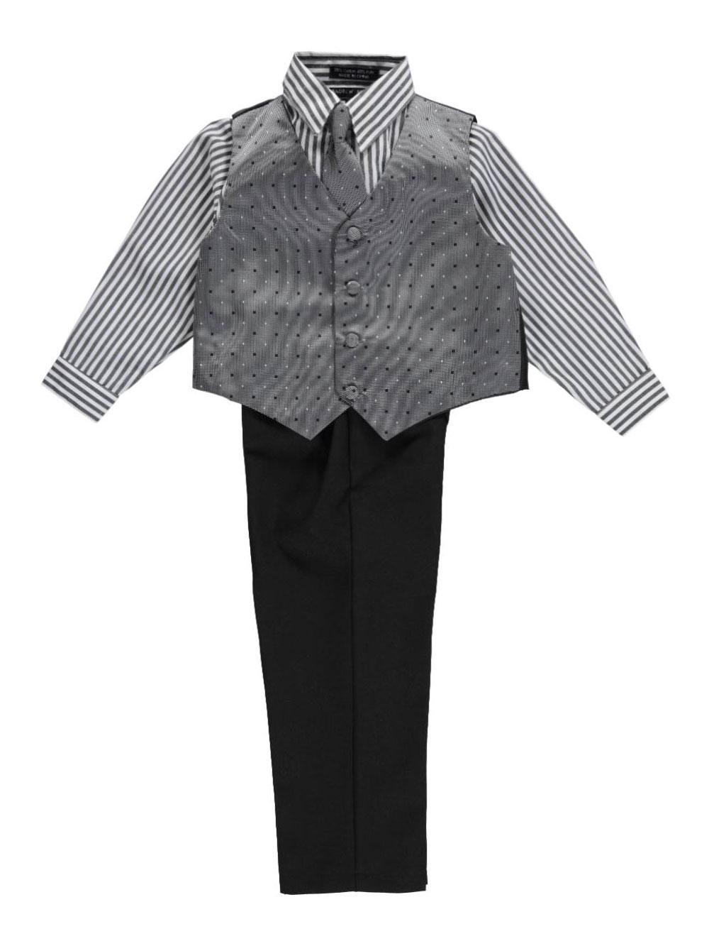 Image of Andrew Fezza Little Boys Salt  Pepper Square 4Piece Vest Set Sizes 4  7  black 5