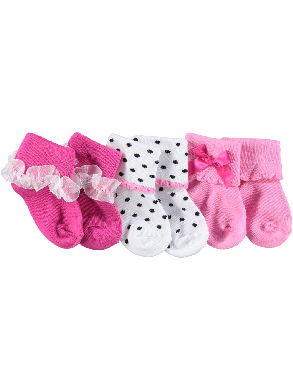 Image of Luvable Friends Baby Girls Dainty Collection 3Pack Socks  pink 6  12 months