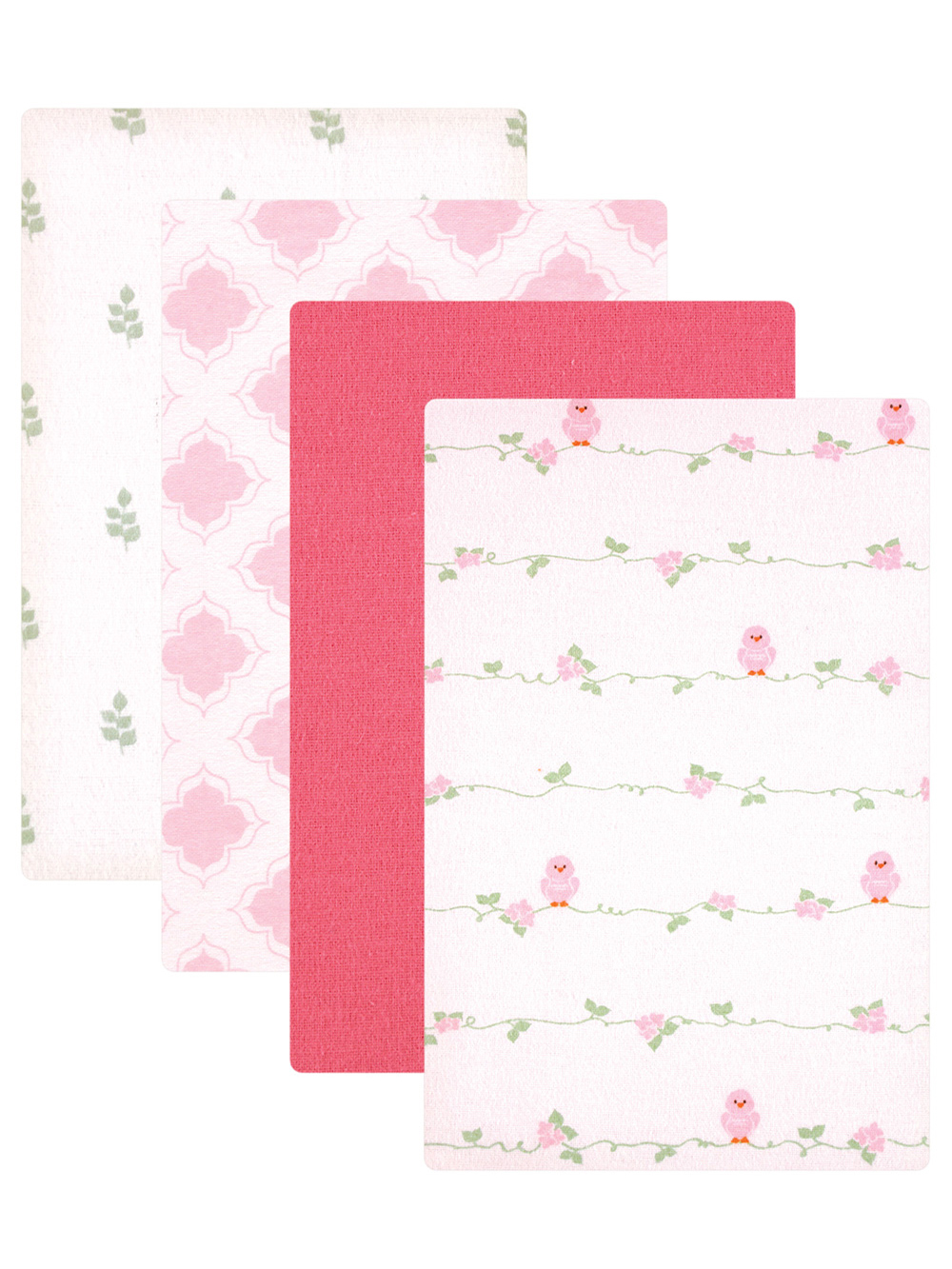Image of Luvable Friends Rose Bird 4Pack Receiving Blankets  pinkwhite one size