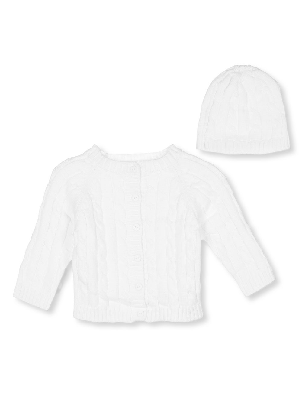 Image of Baby Dove Cable Knit Cardigan  Beanie Set Sizes 0M  9M