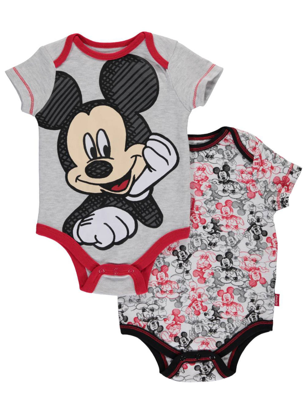 Image of Mickey Mouse Baby Boys Work in Progress 2Pack Bodysuits  heather graymulti 6  9 months