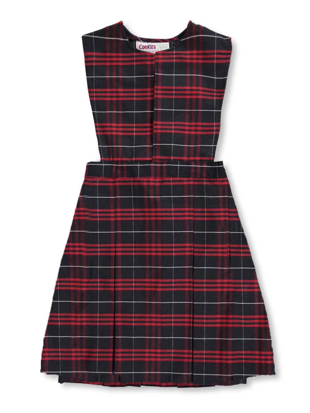 Cookie's Brand School Uniform Cookie's Brand School Uniform Big Girls' Slit Neck Jumper With Kick Pleats (Sizes 7 - 20) - navy/red/white *plaid #37, 8
