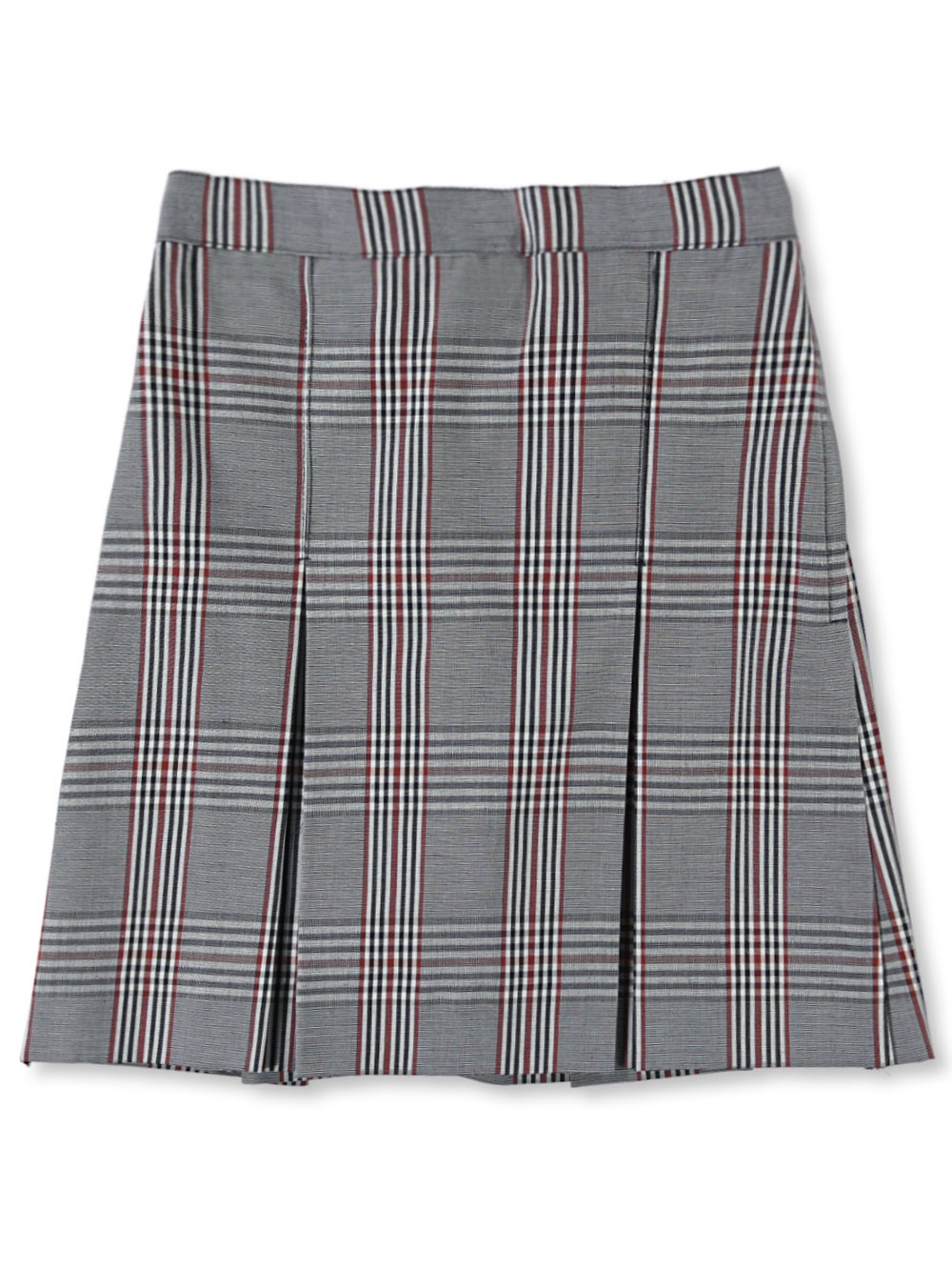 CookiesKids Brand Cookie's Brand Big Girls' Box Pleat Skirt (Sizes 7 - 16) - white/black/rust *plaid #08* polycotton, 18