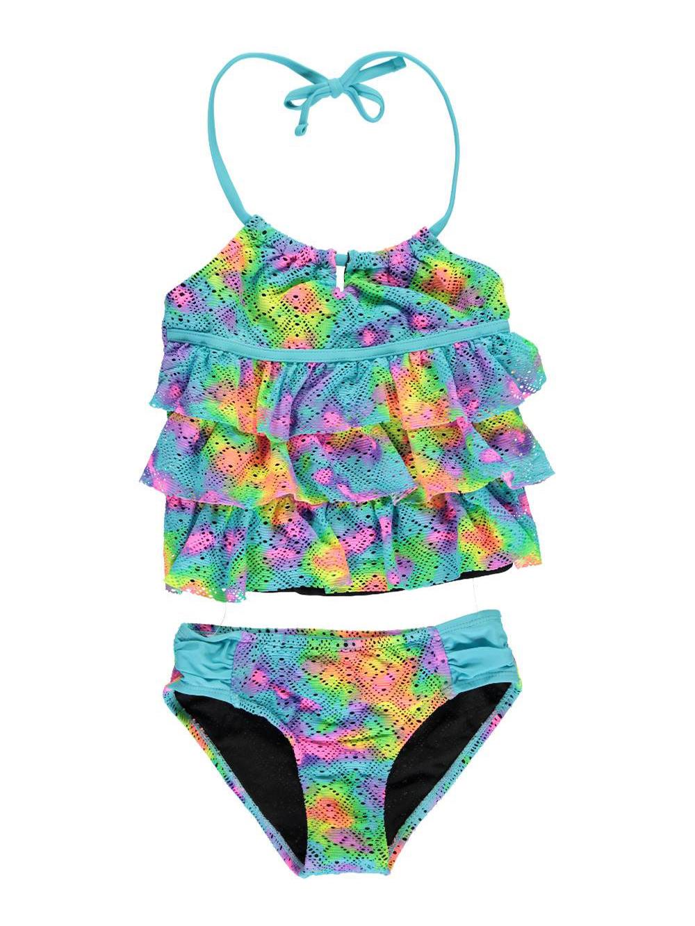 Image of Breaking Waves Big Girls TieDye Party 2Piece Tankini Sizes 7  16  turquoisemulti 12