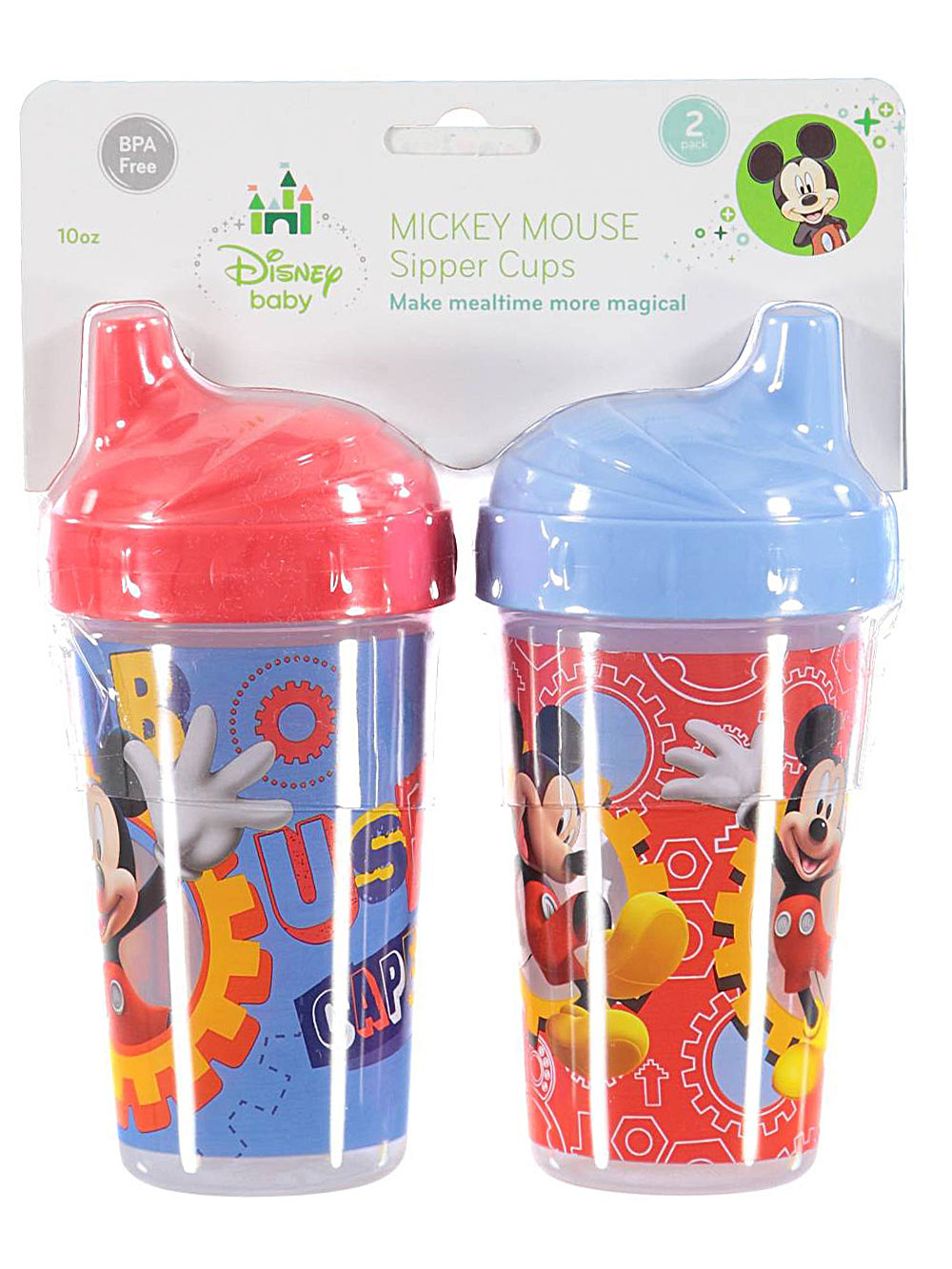"""Mickey Mouse """"Nuts & Bolts"""" 2-Pack Sipper Cups (10 oz.) CUD01529"""