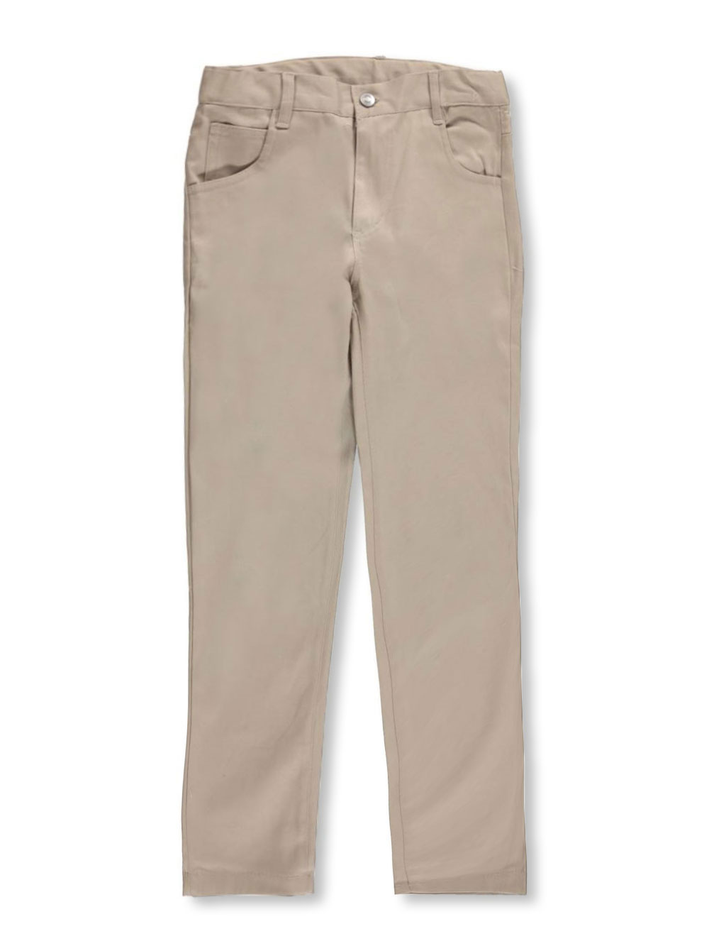Image of Denice Stretch Little Girls Jean Pocket Skinny Uniform Pants Sizes 4  6X  khaki 5