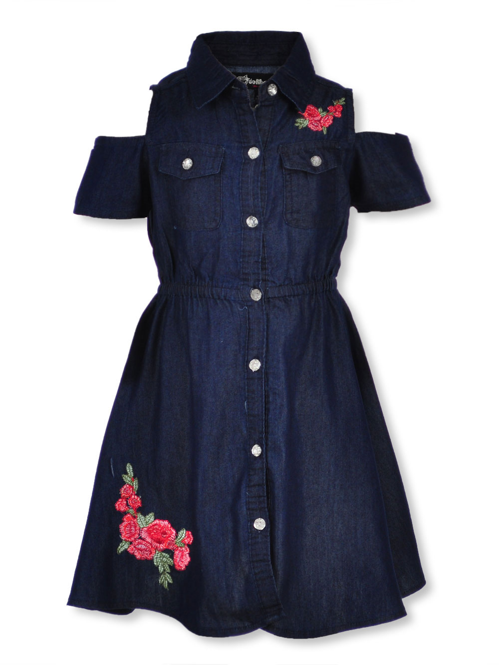 343191e71d9c6c Girls' Cold Shoulder Dress by Dollhouse in dark denim and light ...