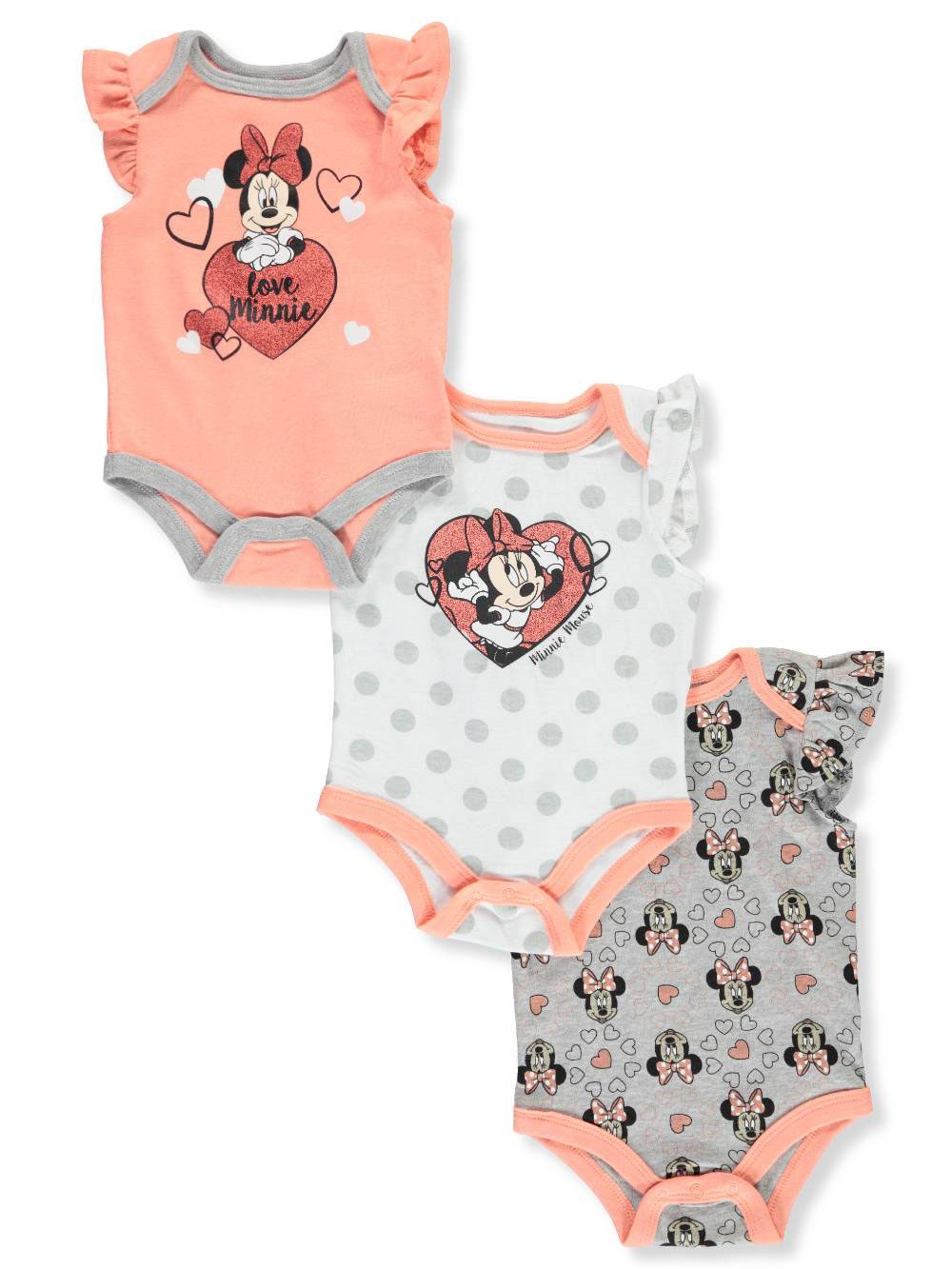 df8b9fa61cb Minnie Mouse Baby Girls' 3-Pack Bodysuits by Disney from Cookie's Kids