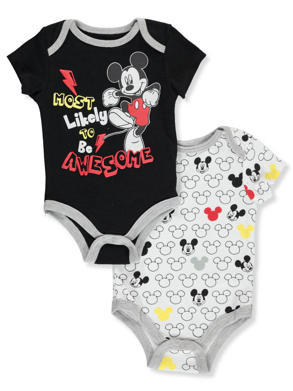 2203e7f73ea Mickey Mouse Baby Boys' 2-Pack Bodysuits by Disney in Black/white ...