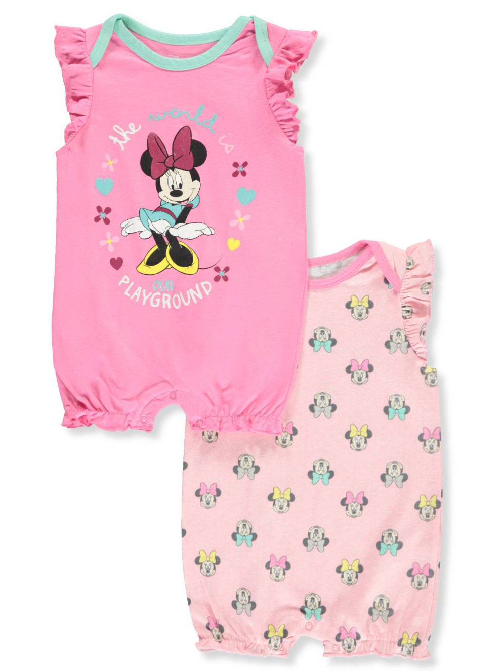 12acf78b4 Disney Minnie Mouse Baby Girls' 2-Pack Rompers