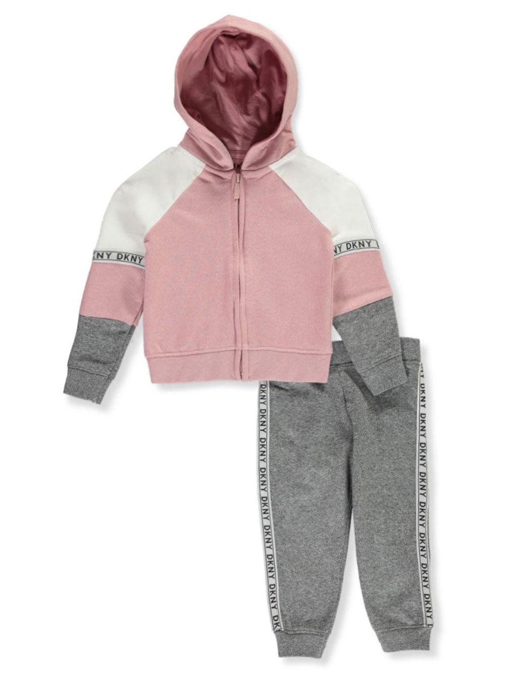 DKNY Girls Glitter-Taped 2-Piece Sweatsuit Pants Set