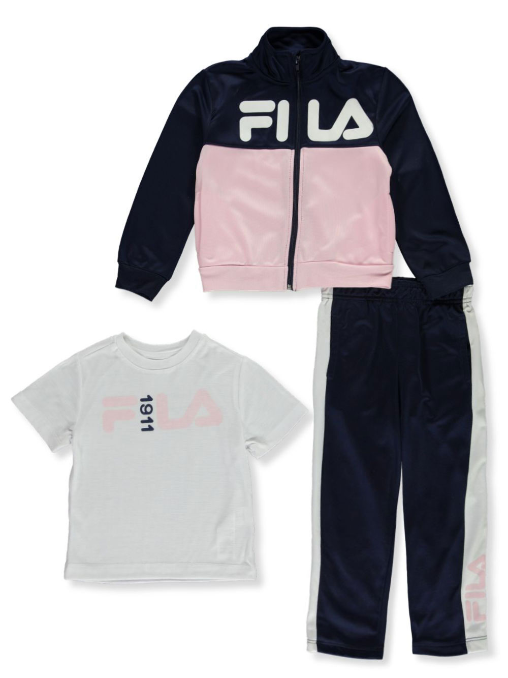 Girls' 1911 Logo 3 Piece Pants Set Outfit by Fila in black and navy