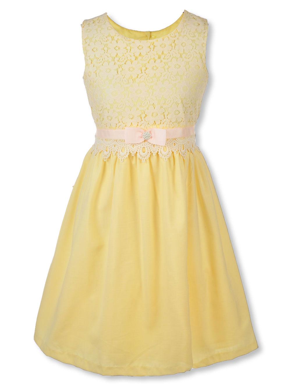 Big Girls\' Plus Size Dress by Bonnie Jean in Yellow