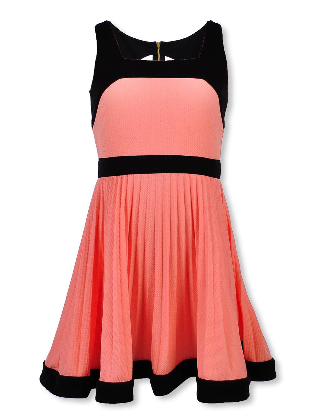 Bonnie Jean Plus Size Girls' Pleated Contrast Dress