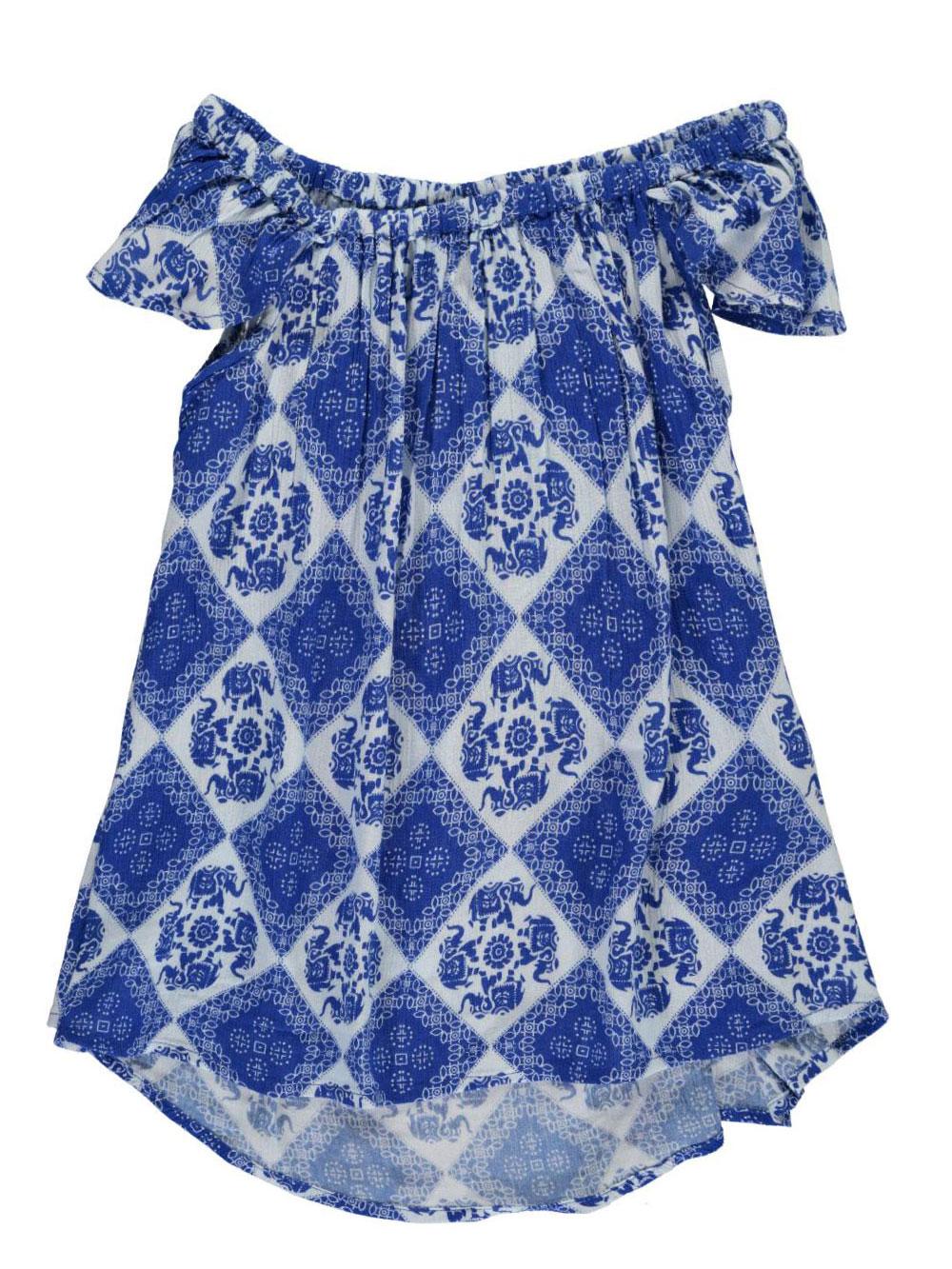Image of Derek Heart Big Girls Elephant Tiles Top Sizes 7  16  blue 7  8