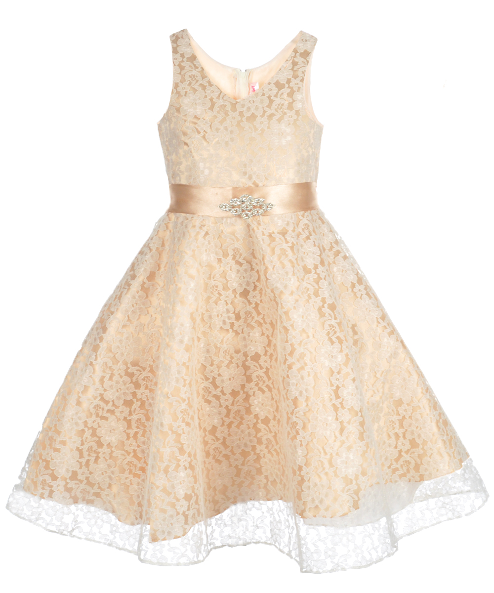 Image of Good Girl Little Girls Satin  Organza Dress Sizes 4  6X  ivorychampagne 6